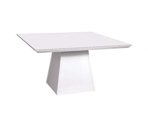 Mesa de Jantar com tampo de vidro Branco Elisa -  Quadrada 1.36 x 1.36
