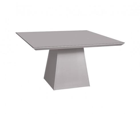 Mesa de Jantar com tampo de vidro Off-white Elisa -  Quadrada 1.36 x 1.36