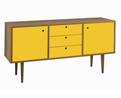 Buffet Vintage 2 Portas e 3 Gavetas  -  Amarelo