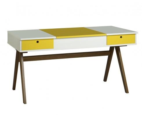 Escrivaninha | Penteadeira Delacroix  -  Branca e Amarela